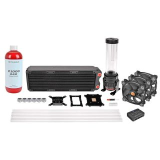 Thermaltake Pacific RL360 | DIY LCS | RL360mm DIY Liquid cooling system | Riing Fan RGB 3 Pack Opeque Coolant Red
